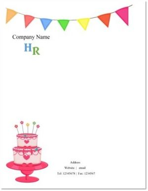 letterhead for company that deals with birthdays or that bakes cakes