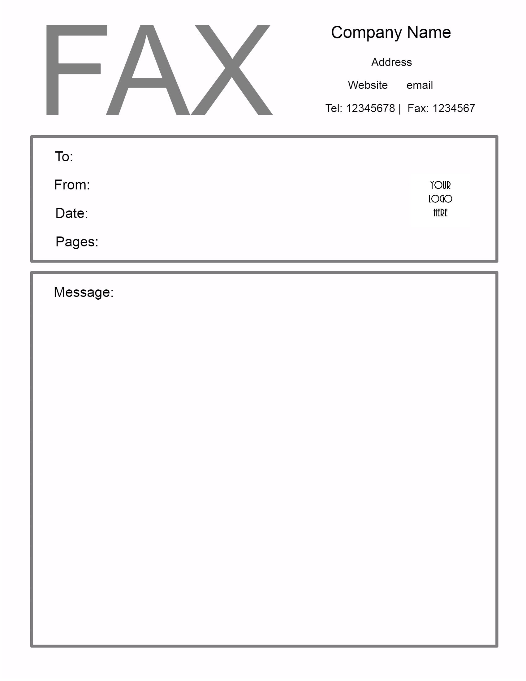 cover sheet for a fax