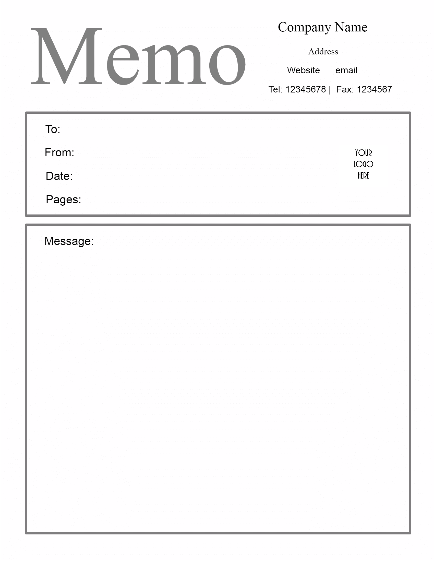 Memo Template. Free Printable  Free Business Stationery Templates For Word