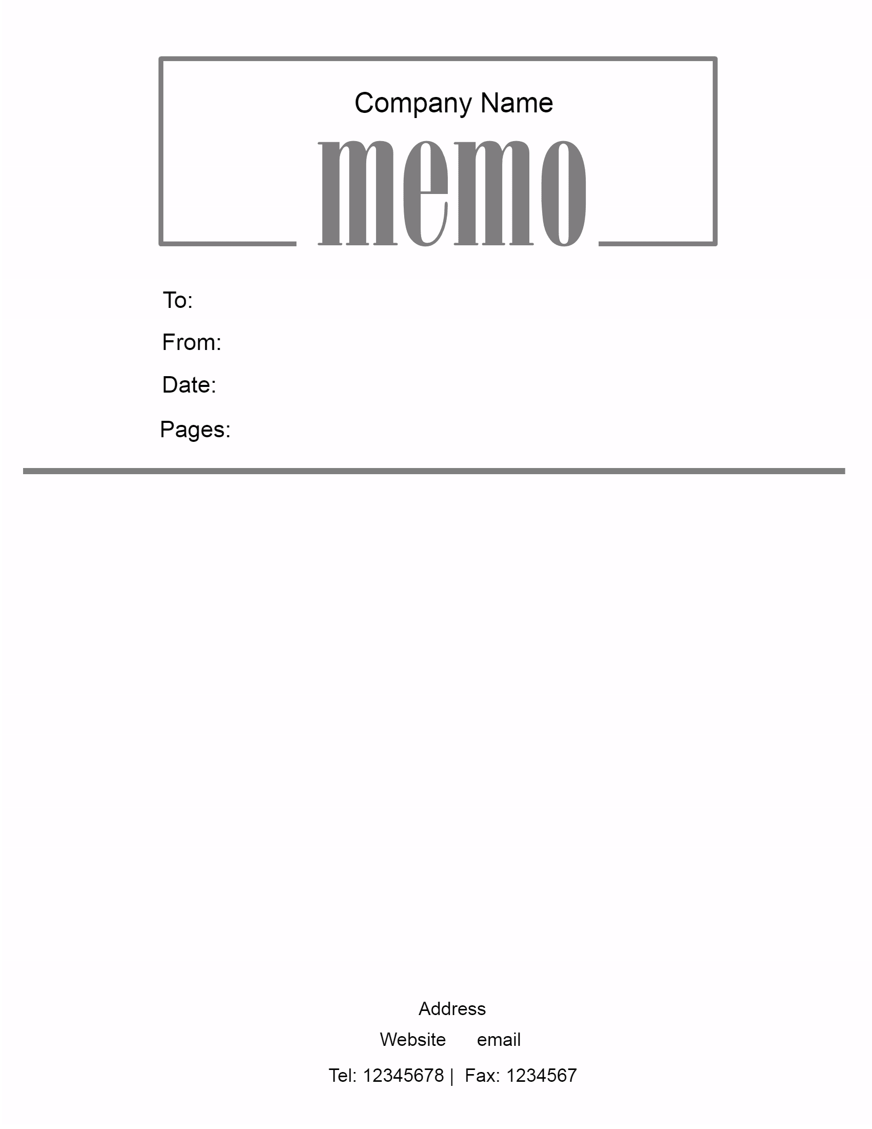 Memo Templates. Address At The Bottom  Memo Templete